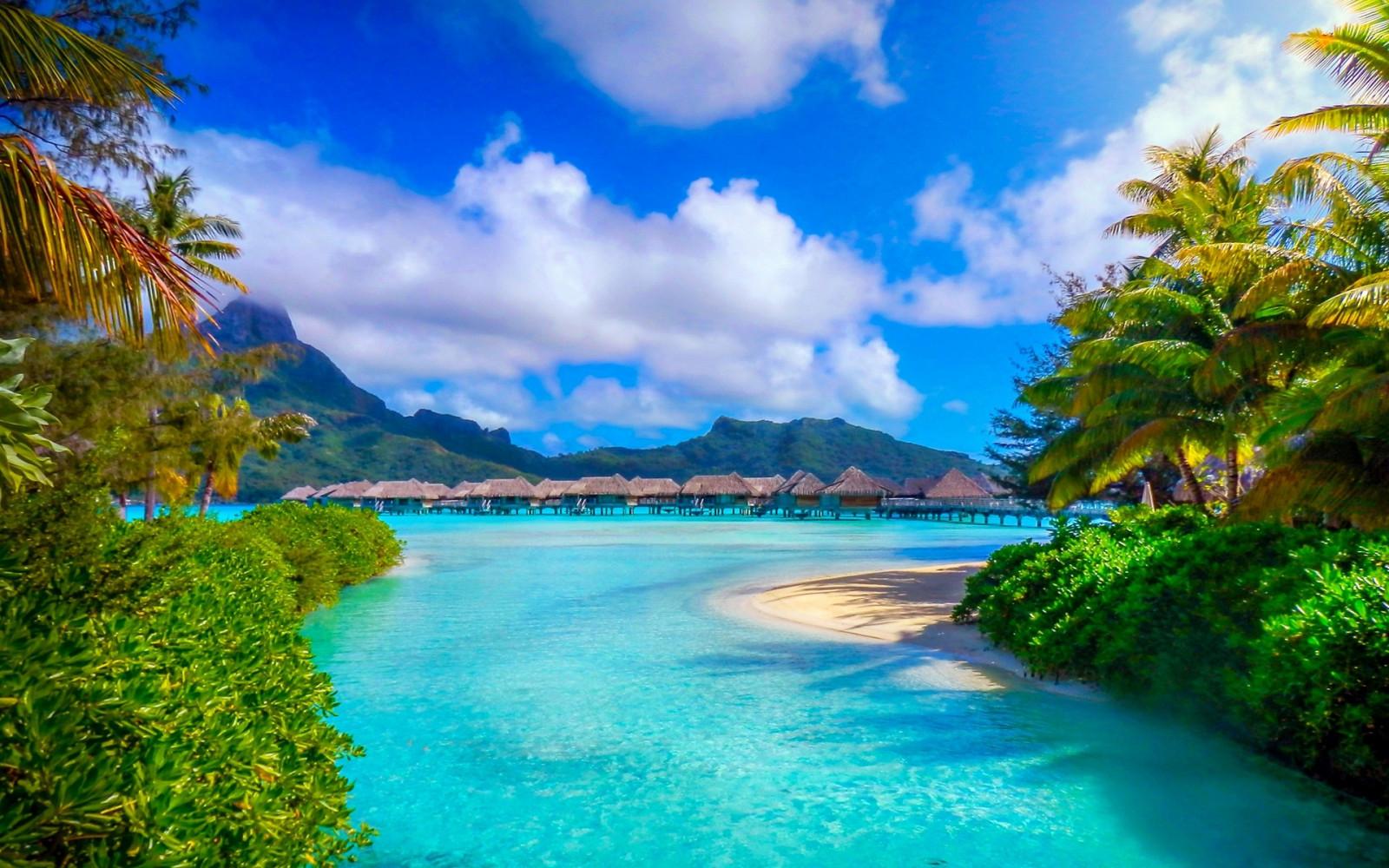 Fond d'écran : paysage, Montagnes, mer, baie, la nature, plage, côte, palmiers, piscine, recours ...