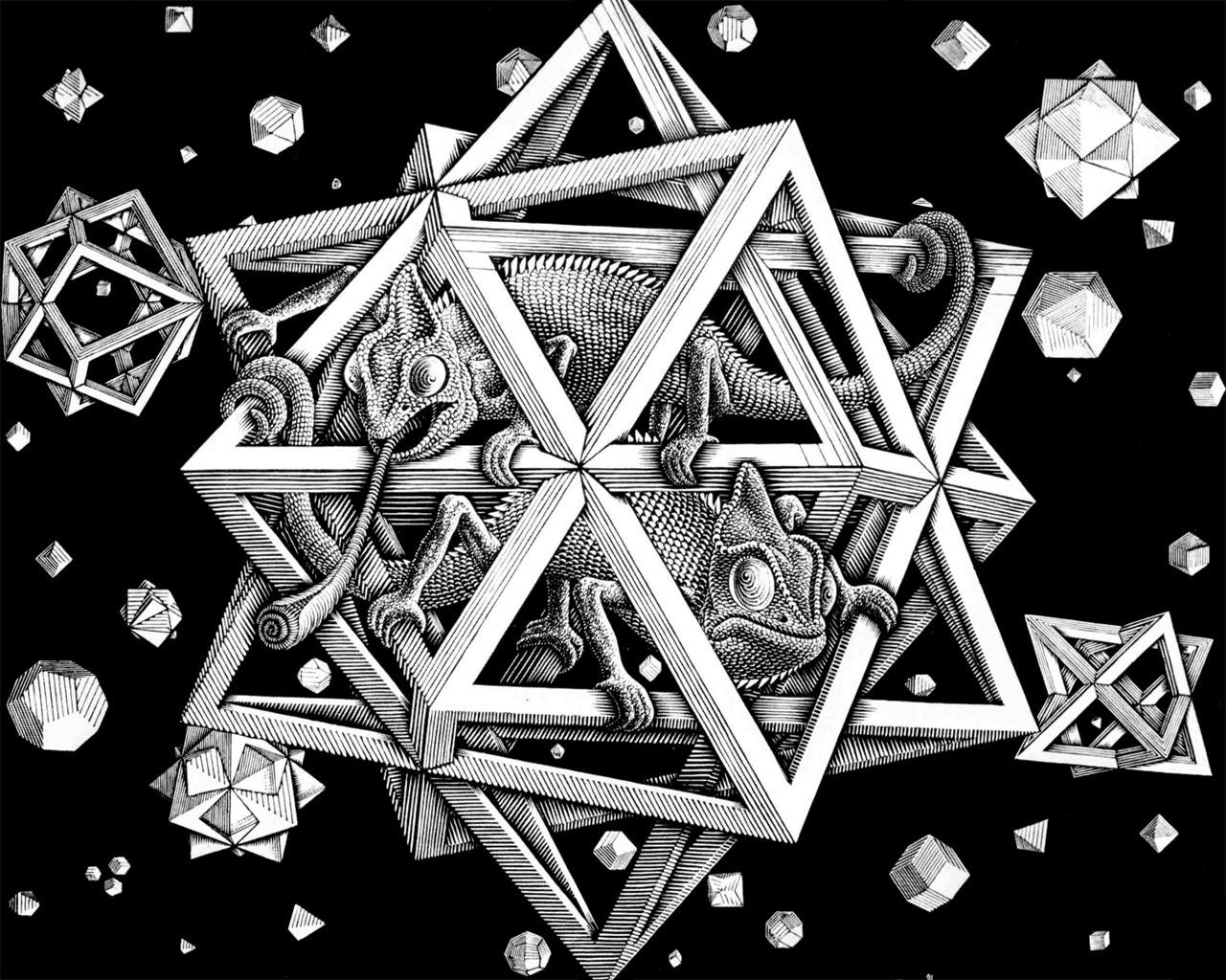 digital art simple background M C Escher optical illusion artwork drawing geometry 3D 93295
