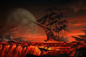 Segelschiffe auf dem meer sonnenuntergang  Hintergrundbilder : digitale Kunst, Segelschiff, Fantasiekunst ...