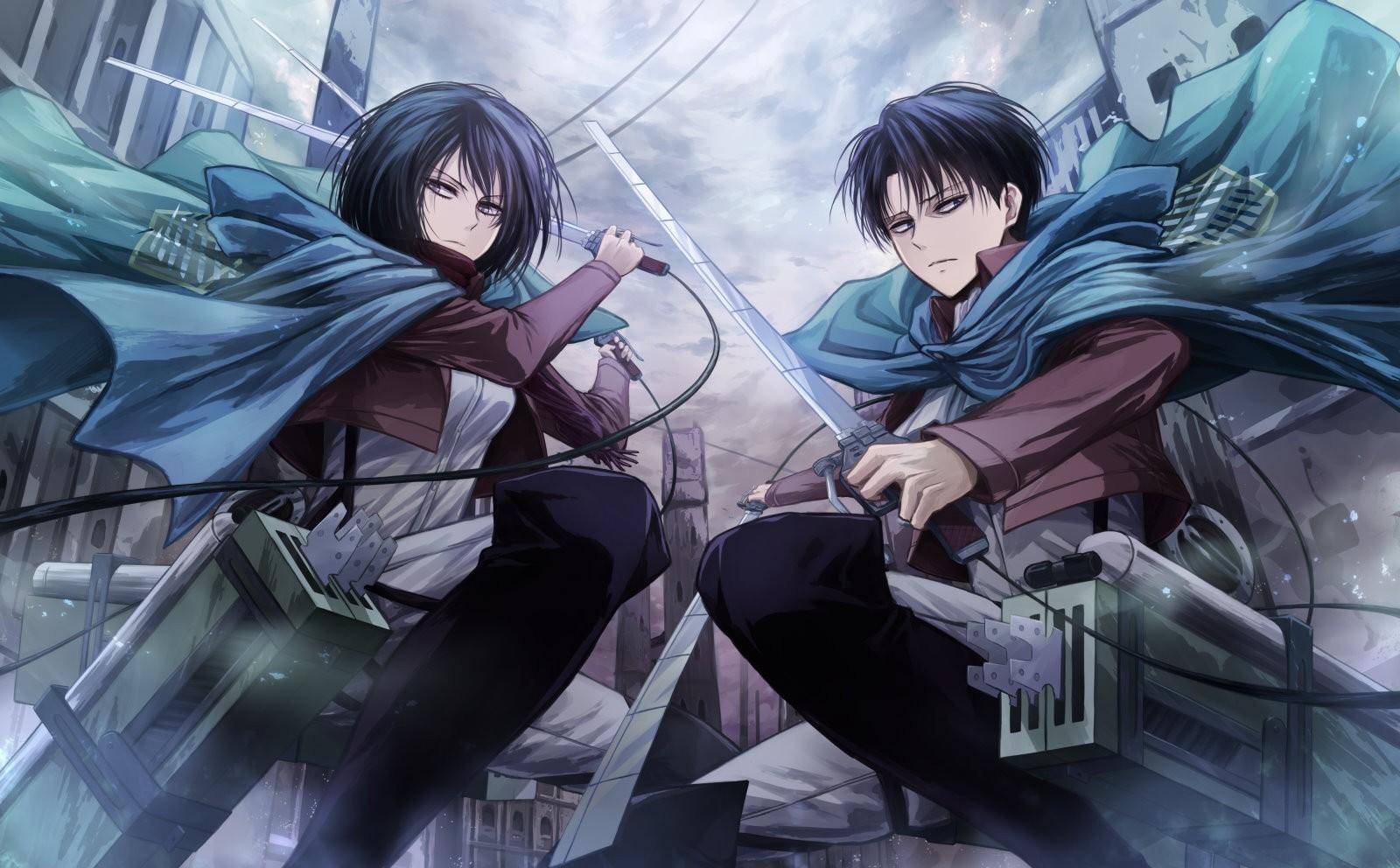 Wallpaper Anime Shingeki No Kyojin Mikasa Ackerman Levi
