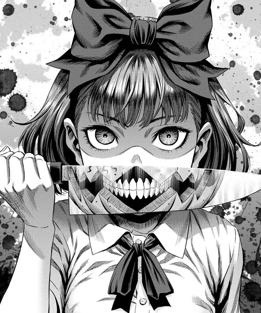 Wallpaper Manga Gore Knife Dark Low Saturation Monochrome