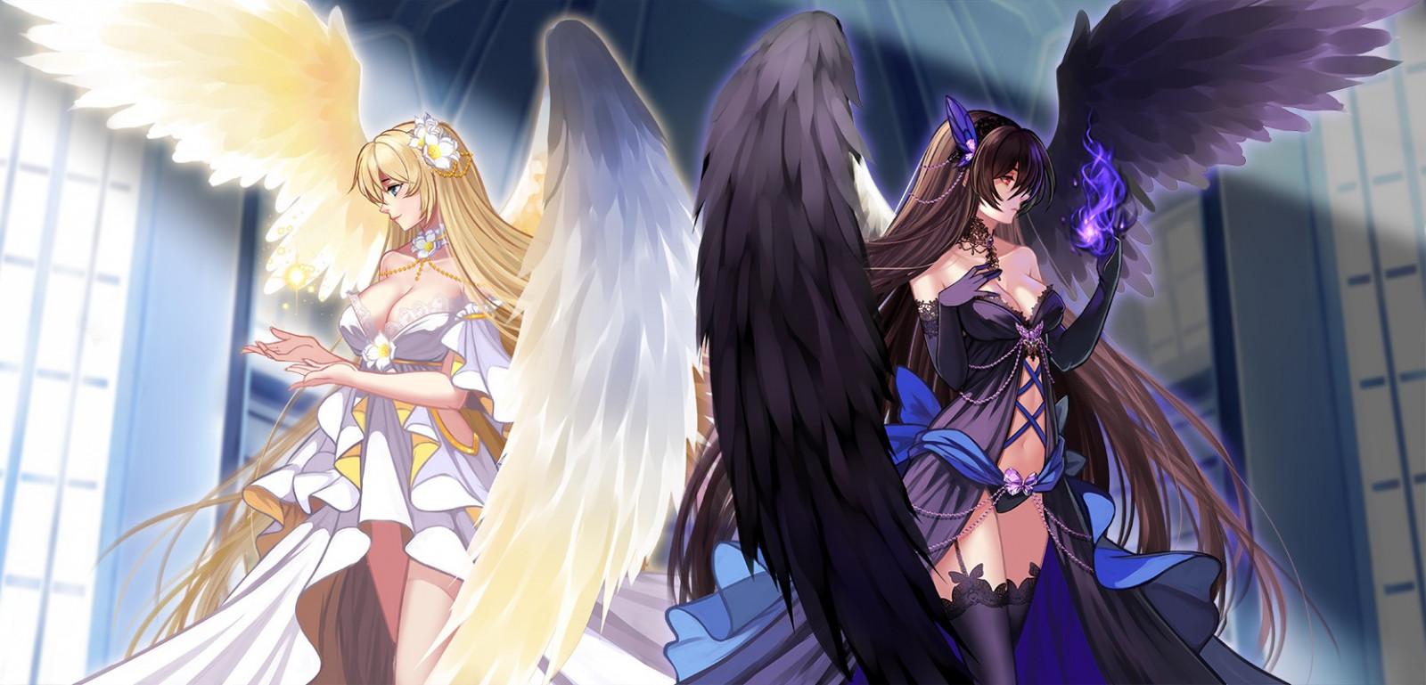 Wallpaper : Anime Girls, Wings, Original Characters