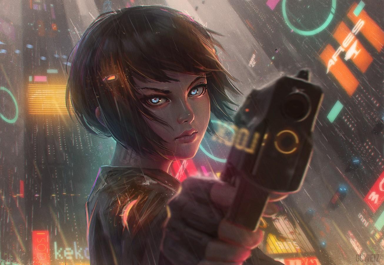 Women Warrior Artwork Sword Rain Cyberpunk Cyberpunk: Wallpaper : Gun, Cyberpunk, Anime Girls, Water, Short Hair