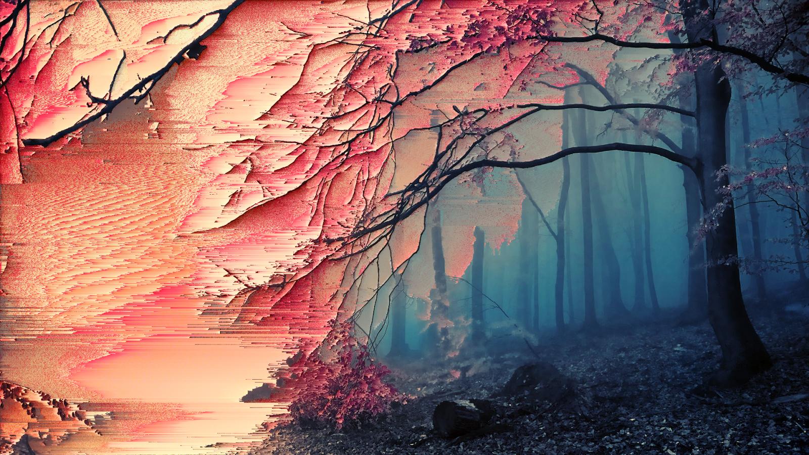 Wallpaper trees forest glitch art sakura tree - Sakura desktop ...