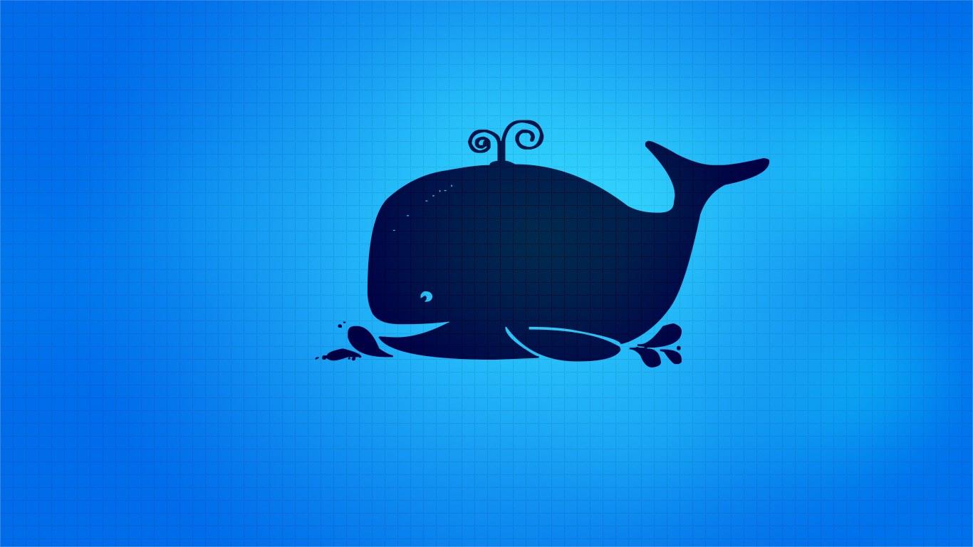 Wallpaper Ilustrasi Logo Biru Gambar Kartun Ikan Paus Merek