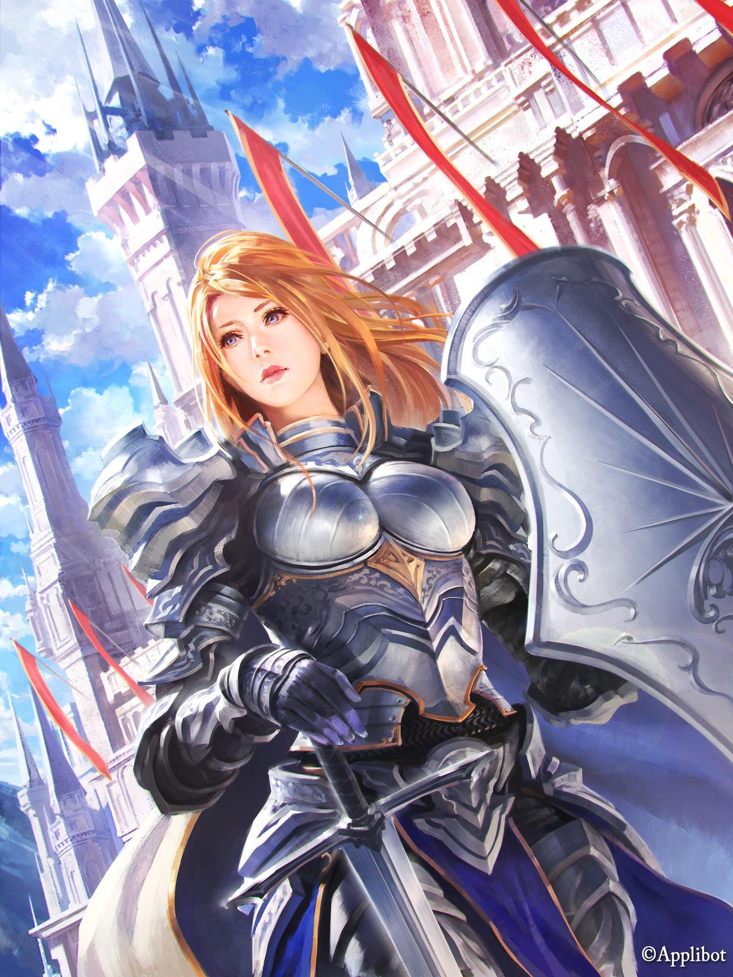 Wallpaper Illustration Anime Girls Short Hair Armor