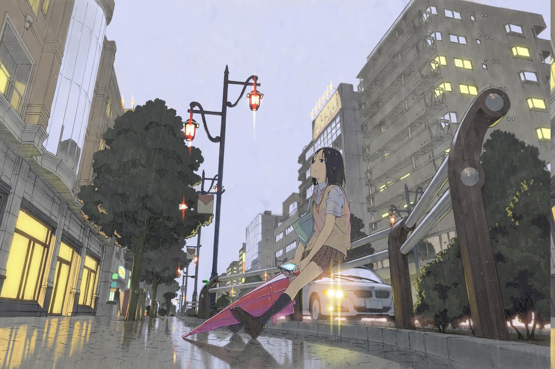 Wallpaper City Street Anime Girls Building Rain Umbrella