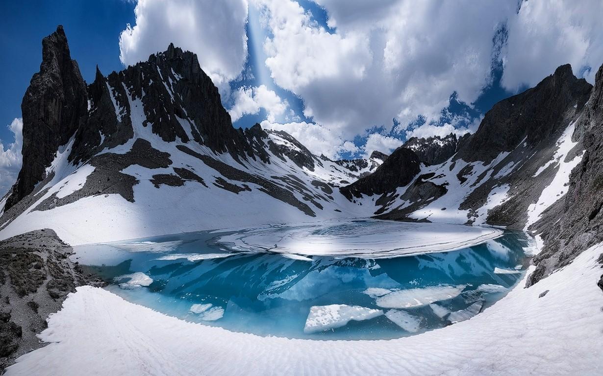 fond d 39 cran paysage blanc montagnes lac la nature neige hiver des nuages bleu la. Black Bedroom Furniture Sets. Home Design Ideas