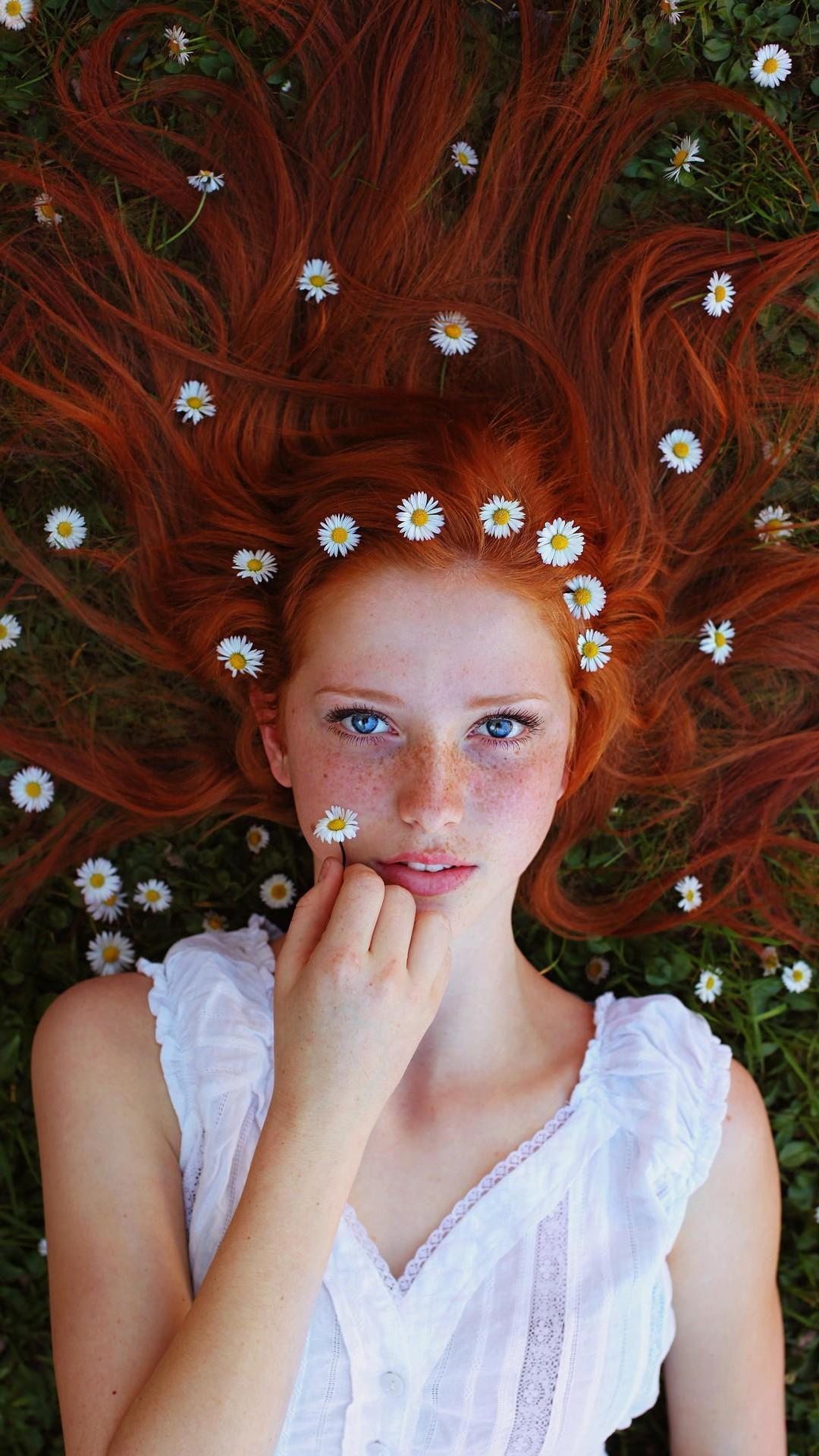 wallpaper face women outdoors redhead model portrait