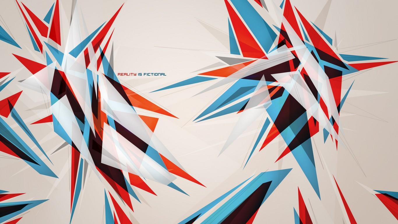 Wallpaper Digital Art Abstract Red Symmetry Blue