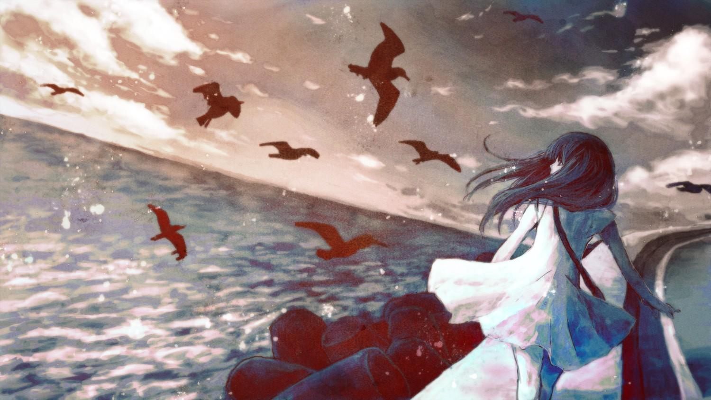 Alone Cartoon Girl wallpaper : sea, anime girls, seagulls, alone, screenshot