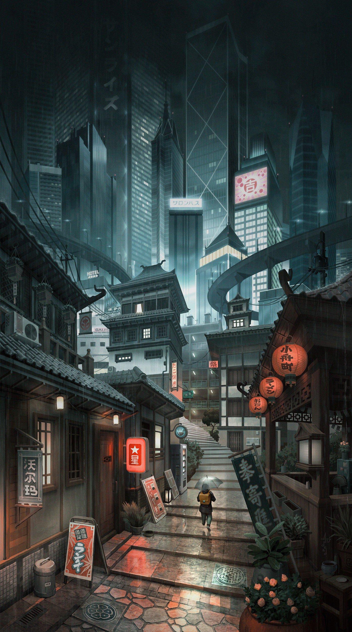 Wallpaper : 1396x2500 px, alleyway, artwork, city ...