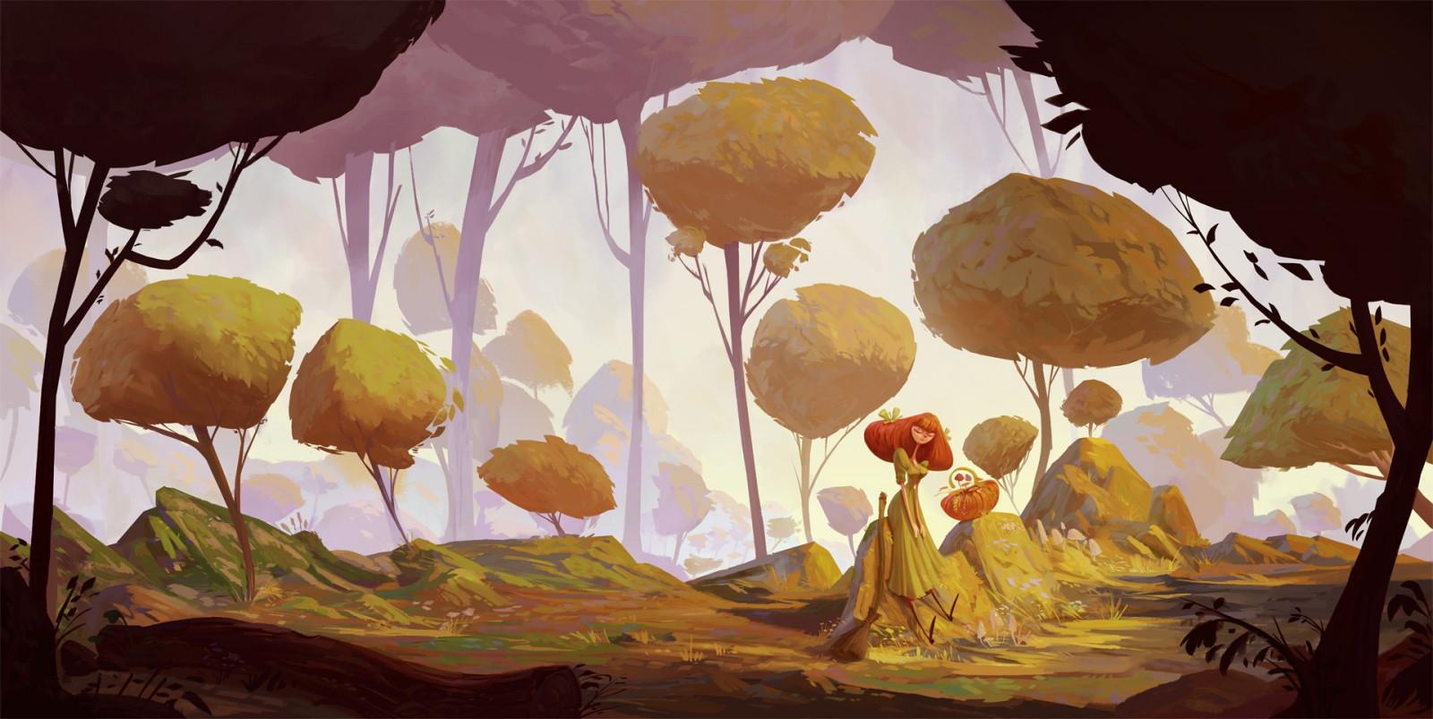 Sfondi la pittura foresta illustrazione cartone