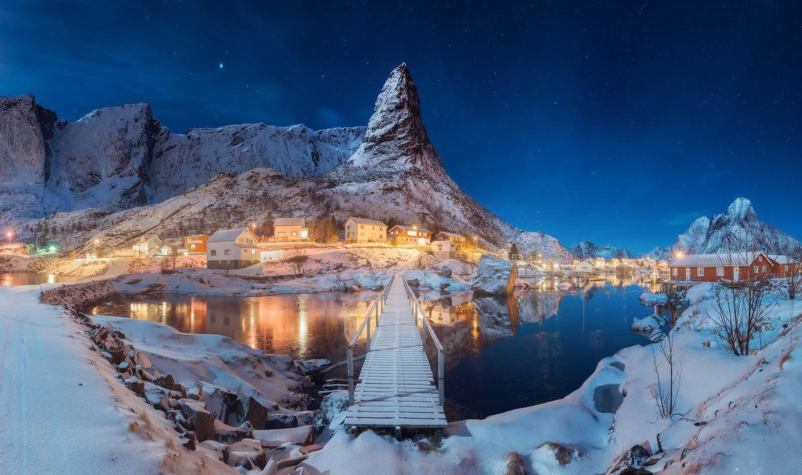 Fond d'écran : paysage, nuit, Lac, la nature, réflexion ...