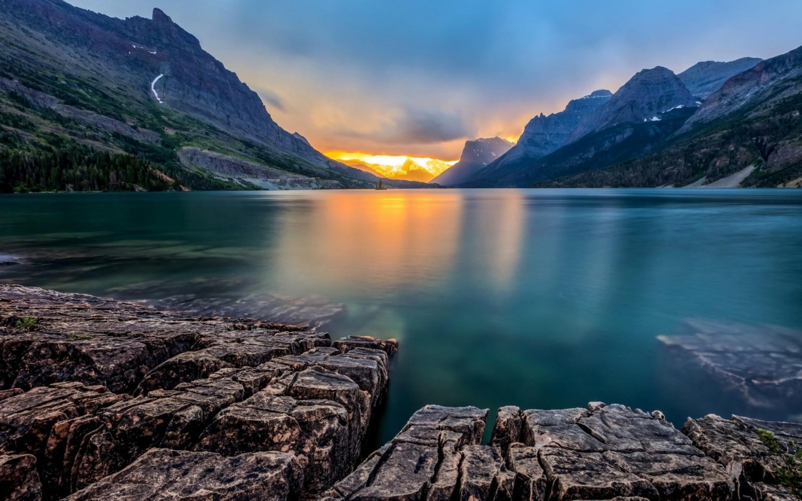 1920x1200 px calma lago panorama Montana montanha natureza reflexão Rocha formação rochosa Lago Saint Mary Pôr do sol EUA