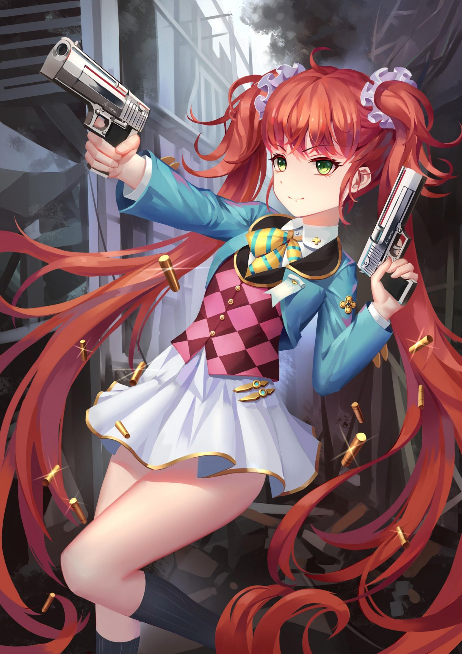 fondos de pantalla   ilustraci u00f3n  pistola  pelirrojo  pelo largo  anime  chicas anime  ojos