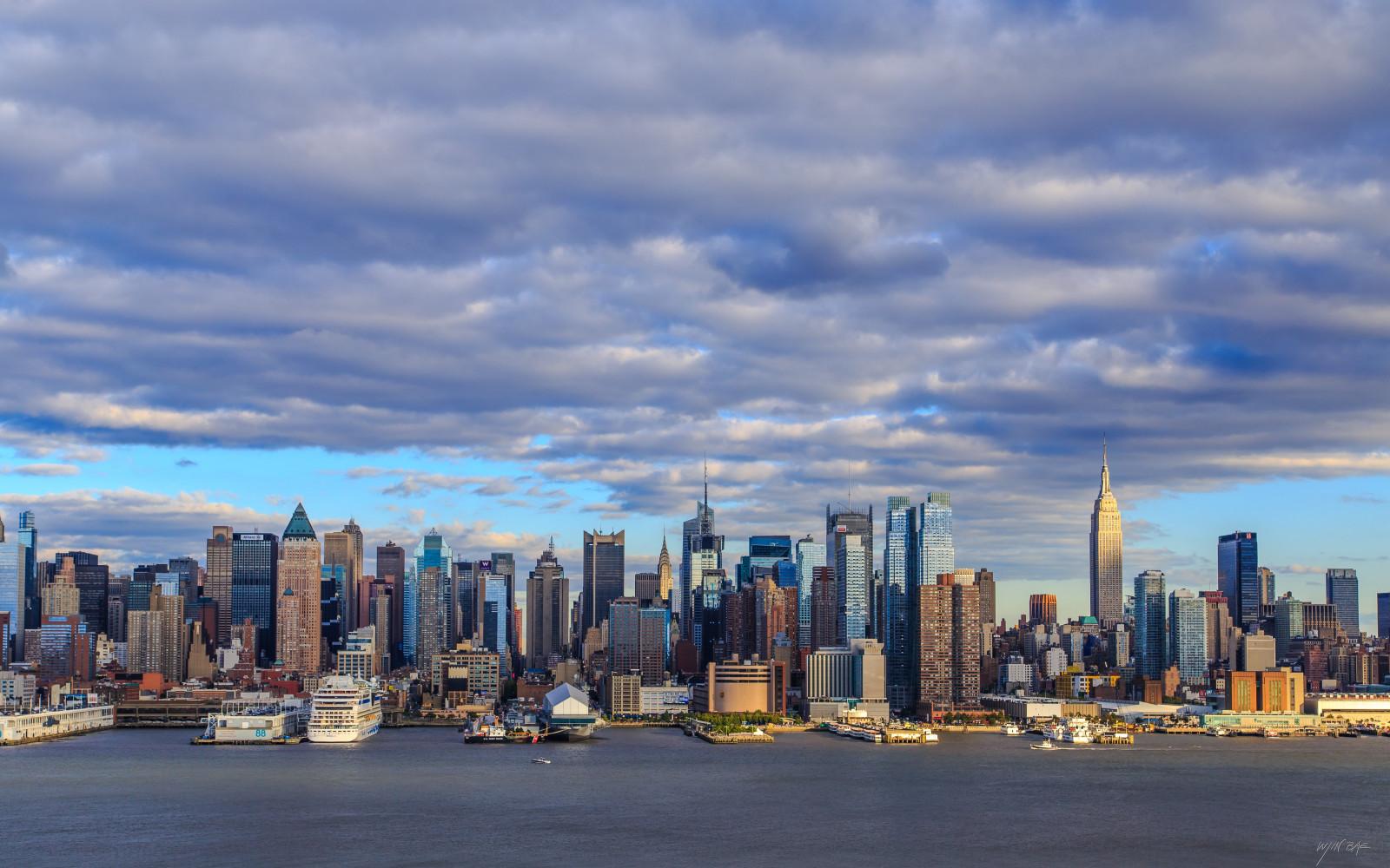 Wallpaper sea city cityscape building sky clouds skyline skyscraper evening new york - 5120x3200 resolution ...