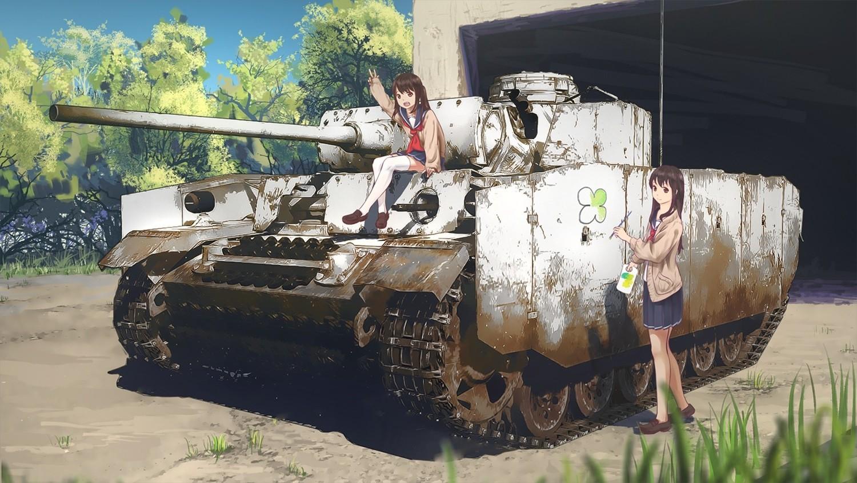 Wallpaper Anime Girls Weapon Tank School Uniform Original
