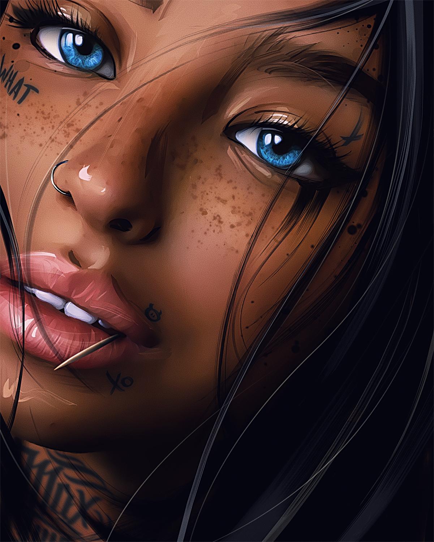 women artwork digital art painting inked girls tattoo looking at viewer blue eyes face nose rings portrait Max Twain