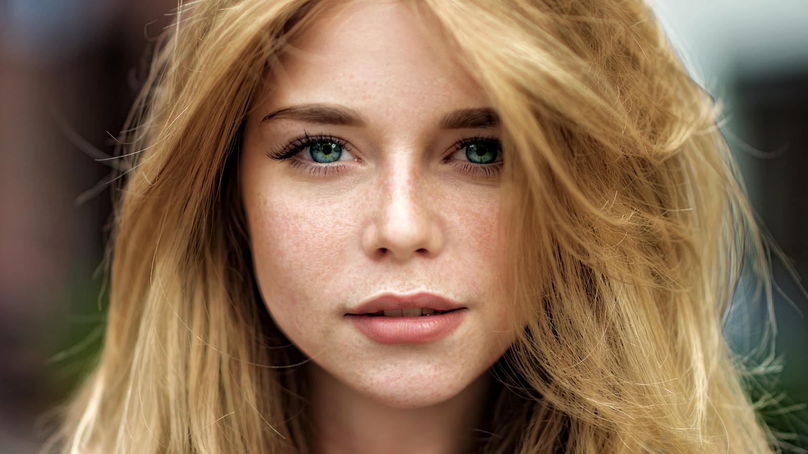 Hintergrundbilder : Frau, Gesicht, Porträt, blond, grüne