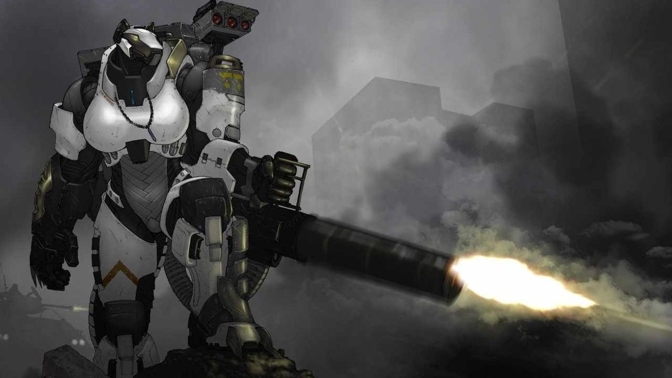 Soldier Robotic Anthro Machine Gun Chain Guns Darkness Screenshot Mecha 1366x768 Px Computer Wallpaper
