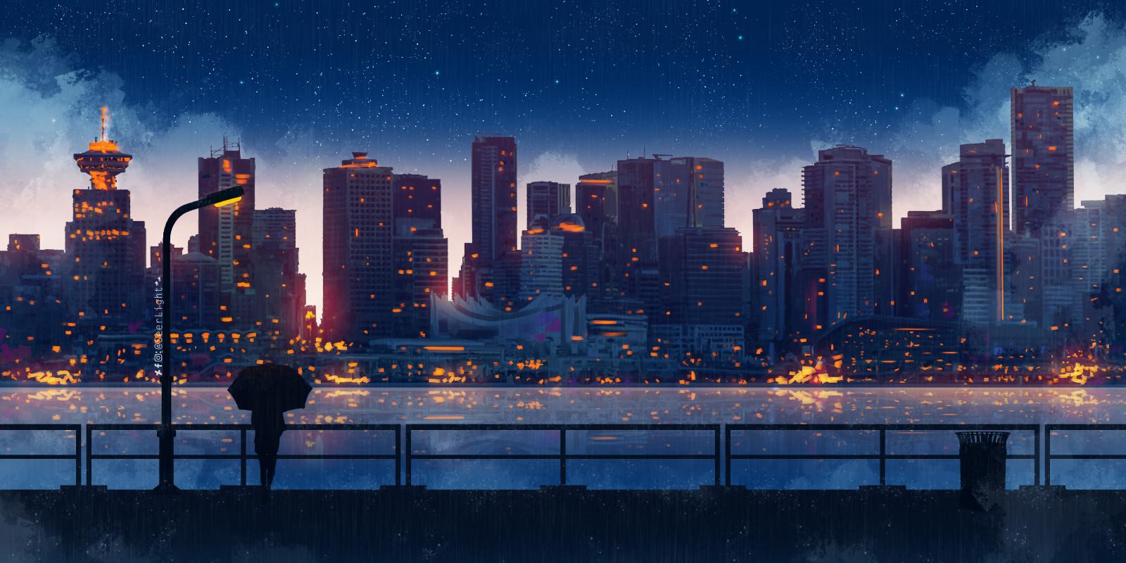 Wallpaper anime kota bangunan wanita payung malam