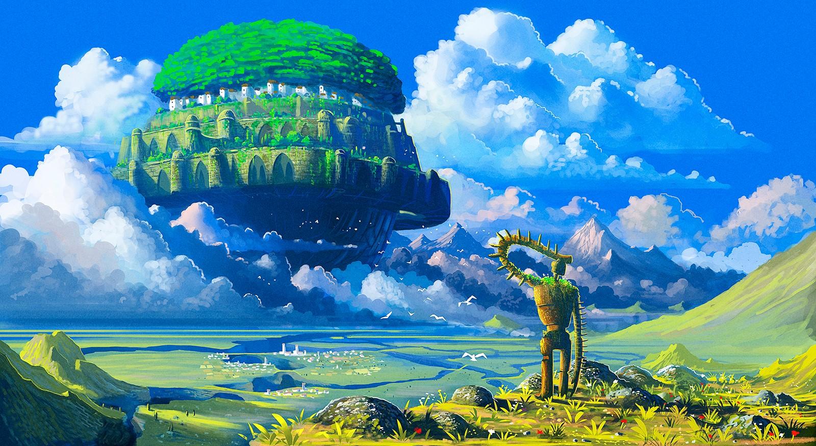 Wallpaper Illustration Anime Robot Sky Earth Floating Island