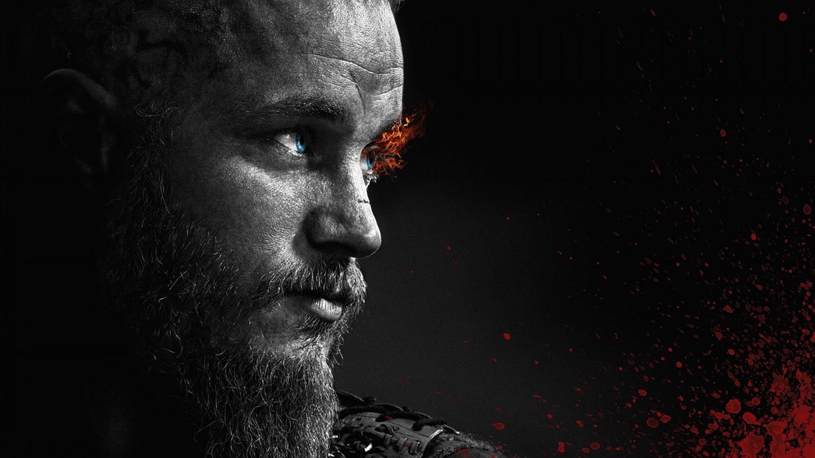 Wallpaper : Ragnar Lodbrok, Vikings, TV, fire, monochrome ...