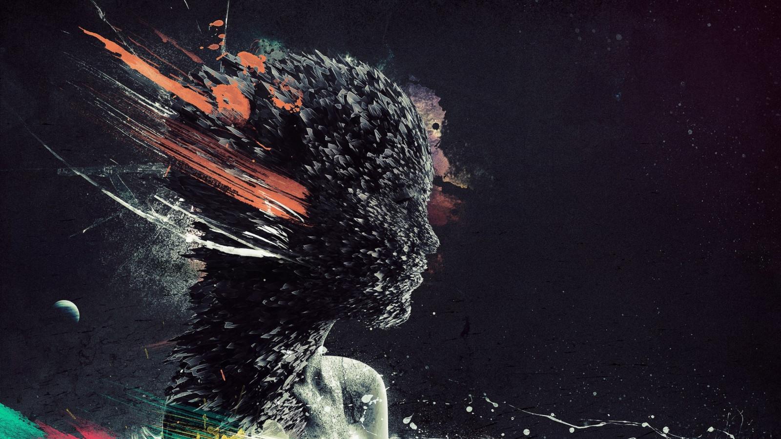 viso, arte digitale, Photoshop, donne, Fantasy art, notte, astratto, spazio, veicolo, opera d'arte, fumo, profilo, grunge, subacqueo, vernice splatter, forme, nave fantasma, oscurità, immagine dello schermo, sfondo del computer, effetti speciali, spazio, copertina
