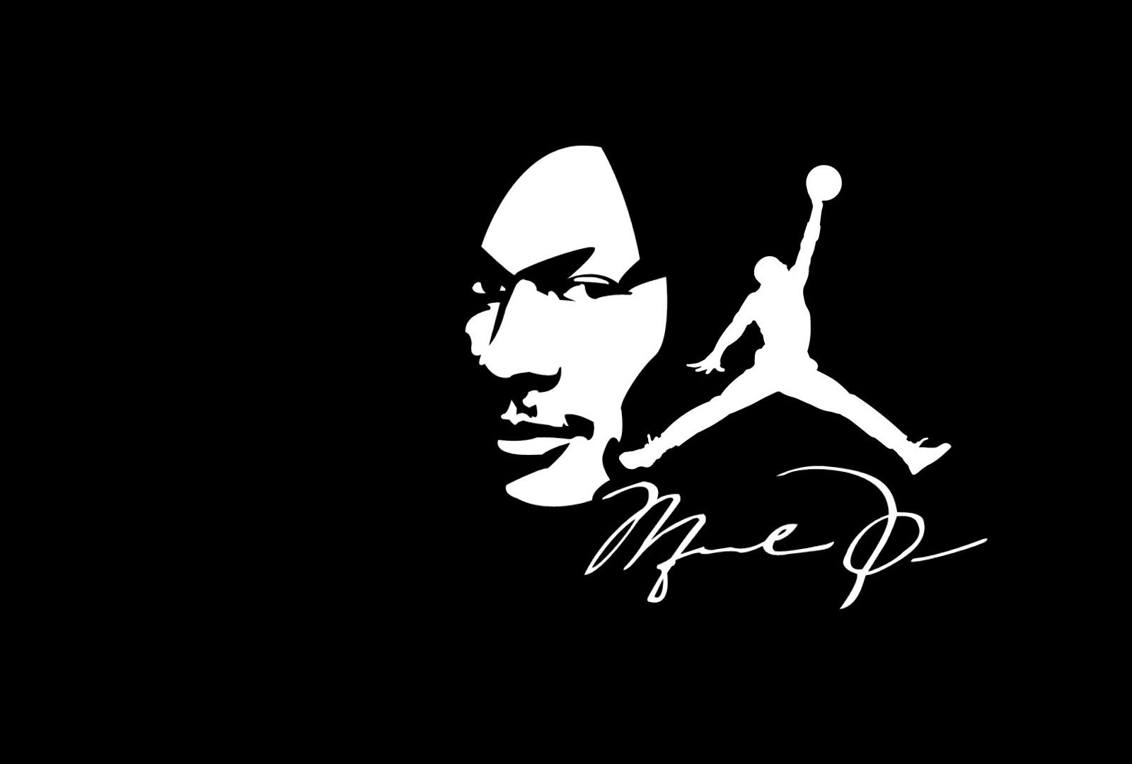 Wallpaper Illustration Silhouette Logo Michael Jordan Black