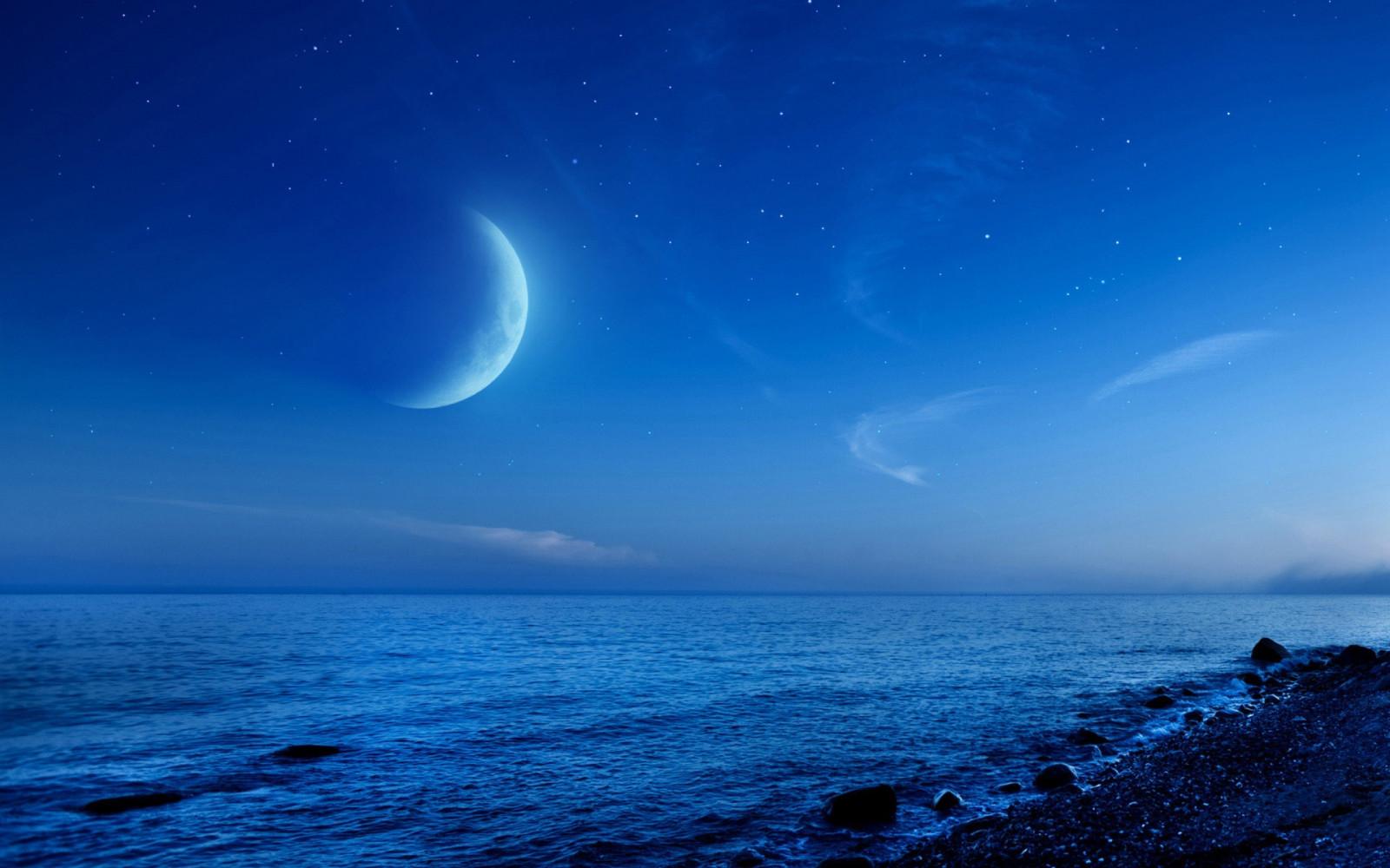 Sfondi Mare Notte Cielo Spiaggia Luna Chiaro Di Luna
