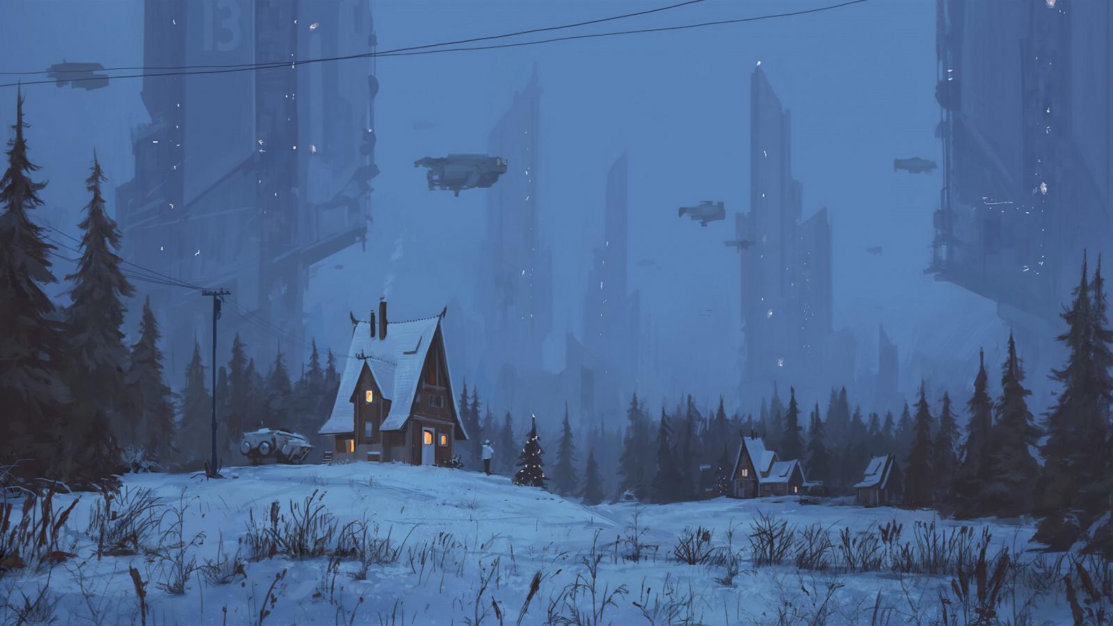inverno, Natale, cyberpunk, fantascienza, erba, la neve, Space Shuttle, linee elettriche, arte digitale, opera d'arte, digitale