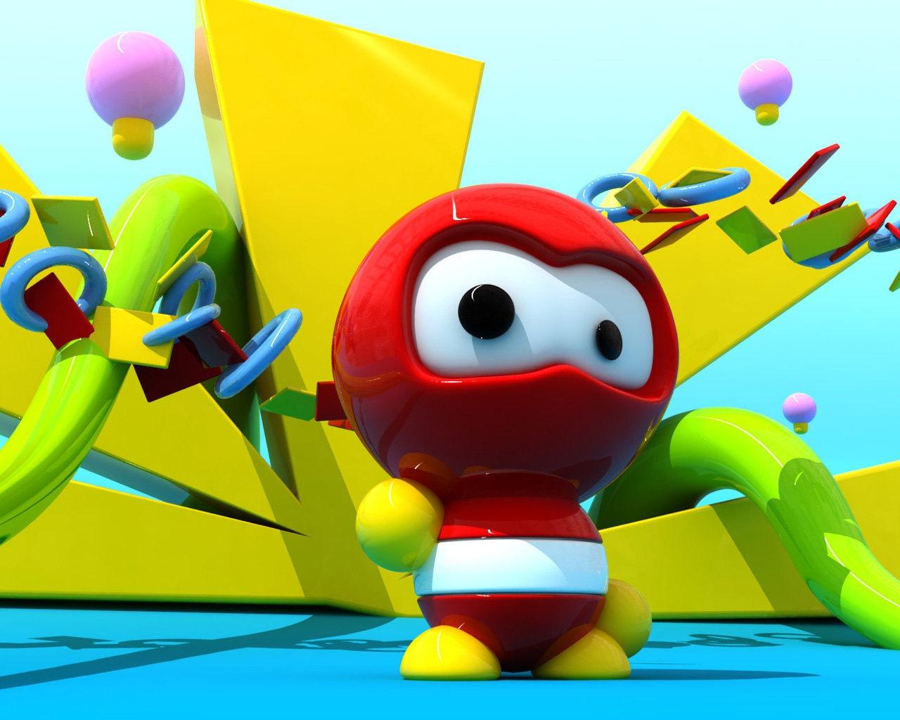 Sfondi illustrazione robot rosso verde giallo cartone