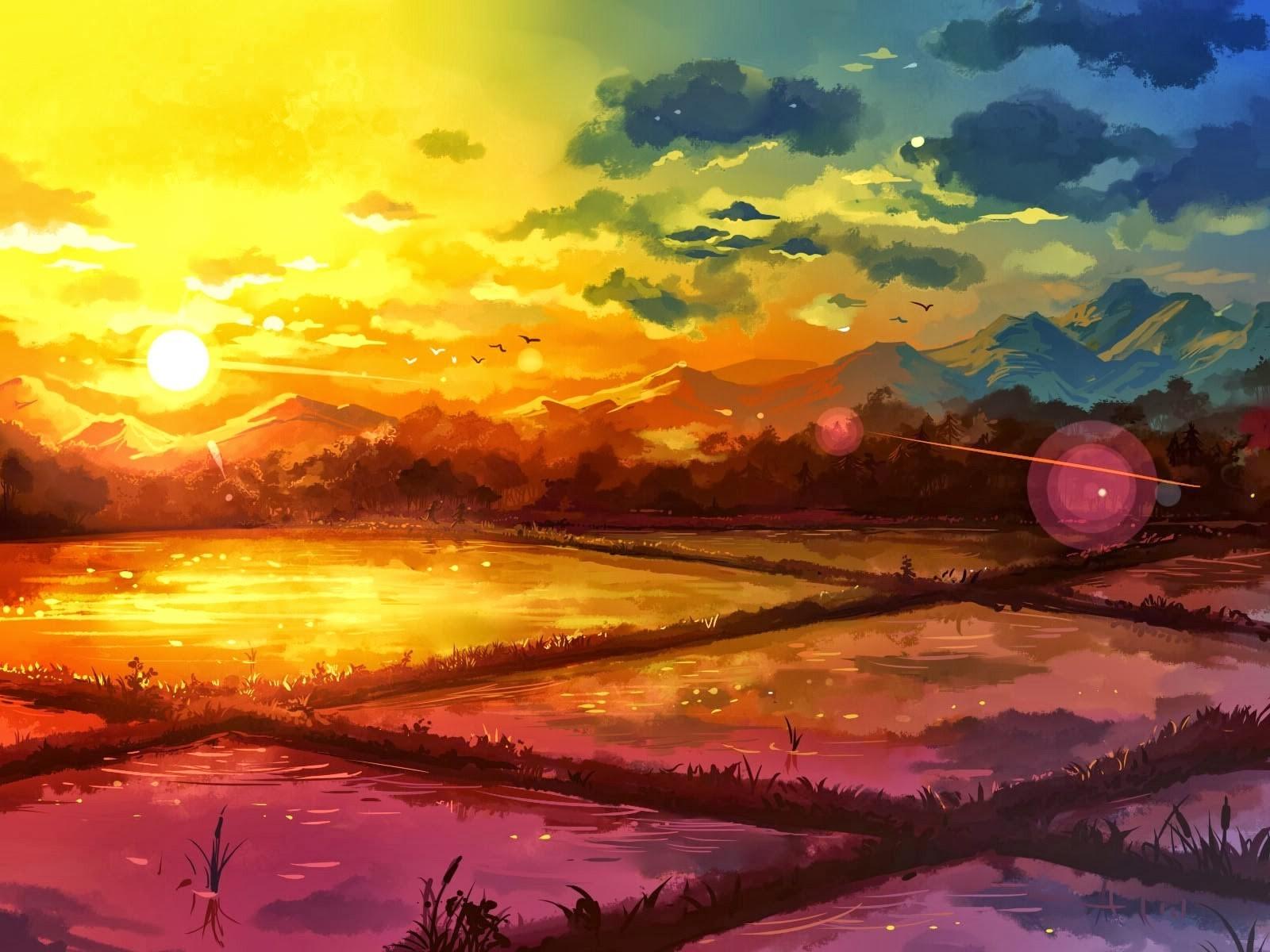Masaustu Gunes Isigi Boyama Illustrasyon Fantezi Sanati Gun