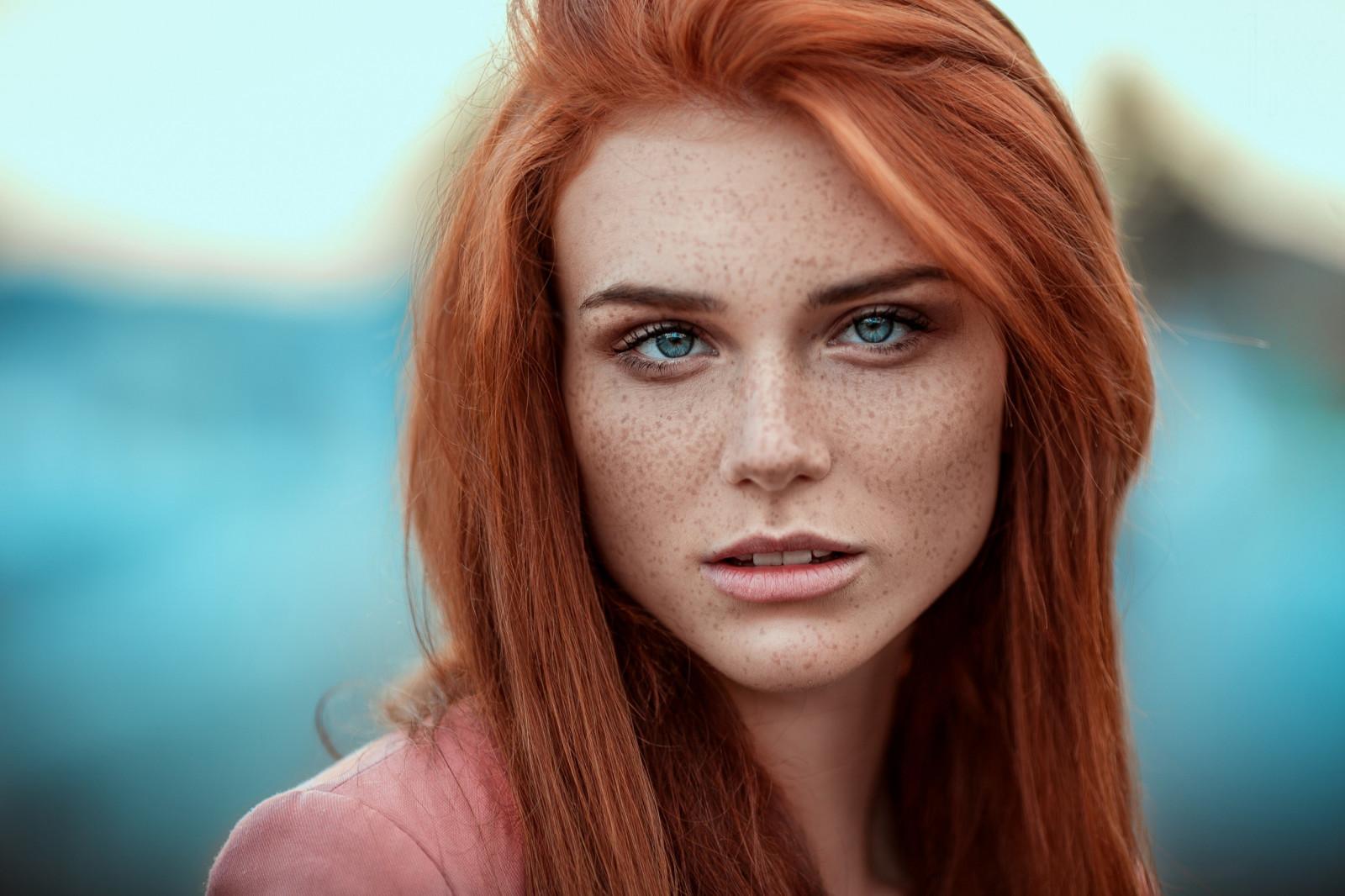 wallpaper face women redhead model depth of field. Black Bedroom Furniture Sets. Home Design Ideas