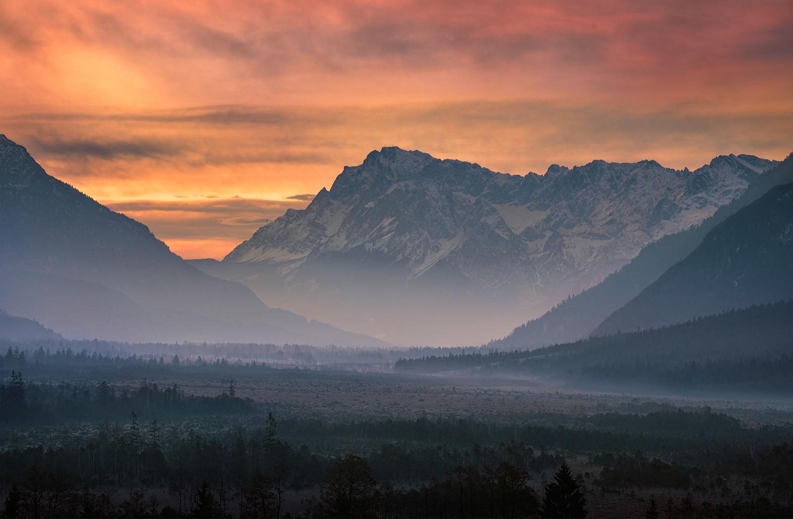 Wallpaper Landscape Forest Mountains Sunset Hill