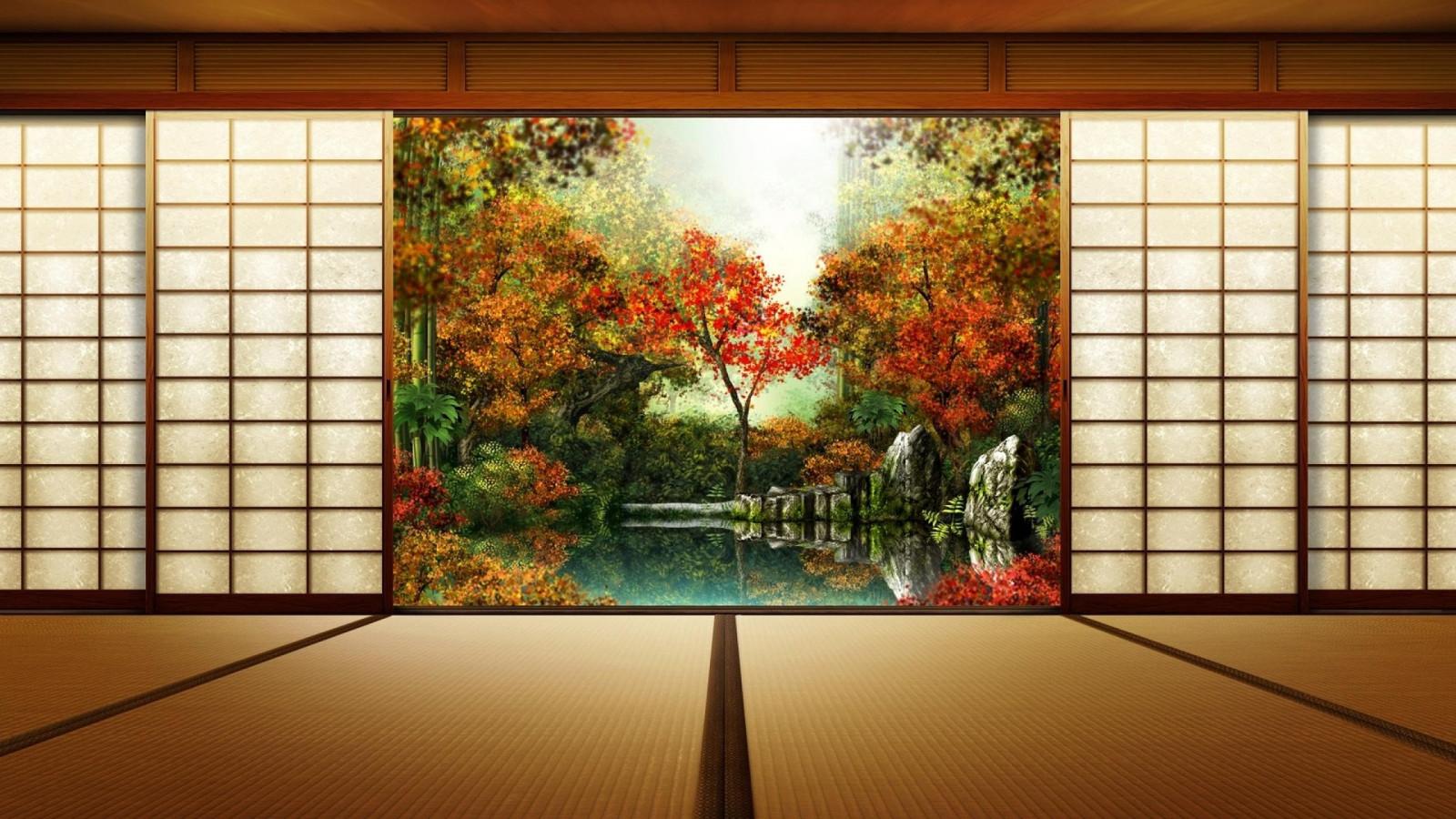 障子から見る日本の景色の壁紙