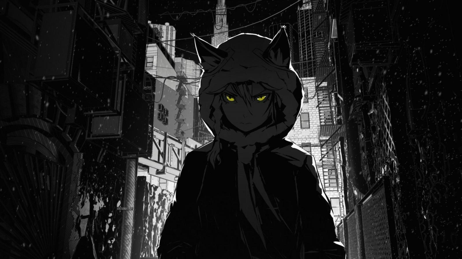 Tapety Monochromia Miasto Ulica Nekomimi Dziewcząt Anime