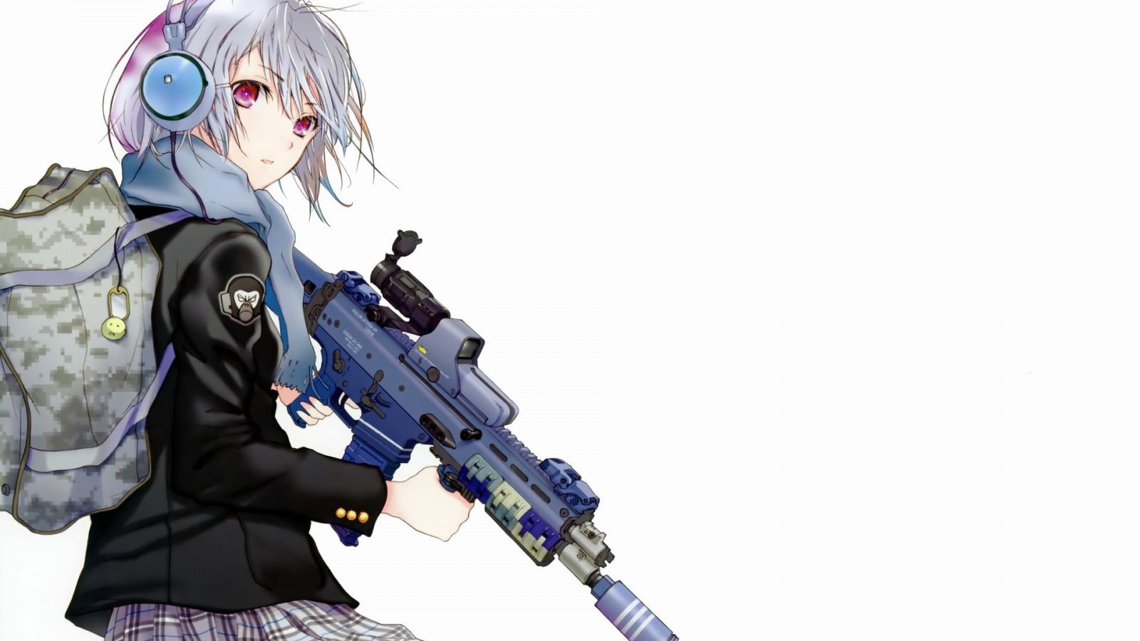 Masaüstü Basit Arka Plan Beyaz Saç Anime Girls Robot Silah