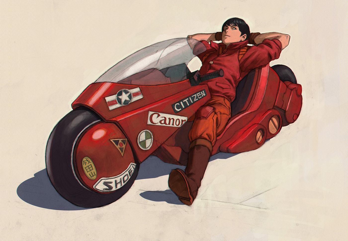 デスクトップ壁紙 明 アニメ少年 オートバイ ショートヘア 2d Shotaro Kaneda 黒髪 単純な背景 赤い服 ファンアート イラ クフシノフ 1400x971 Br3athless デスクトップ壁紙 Wallhere