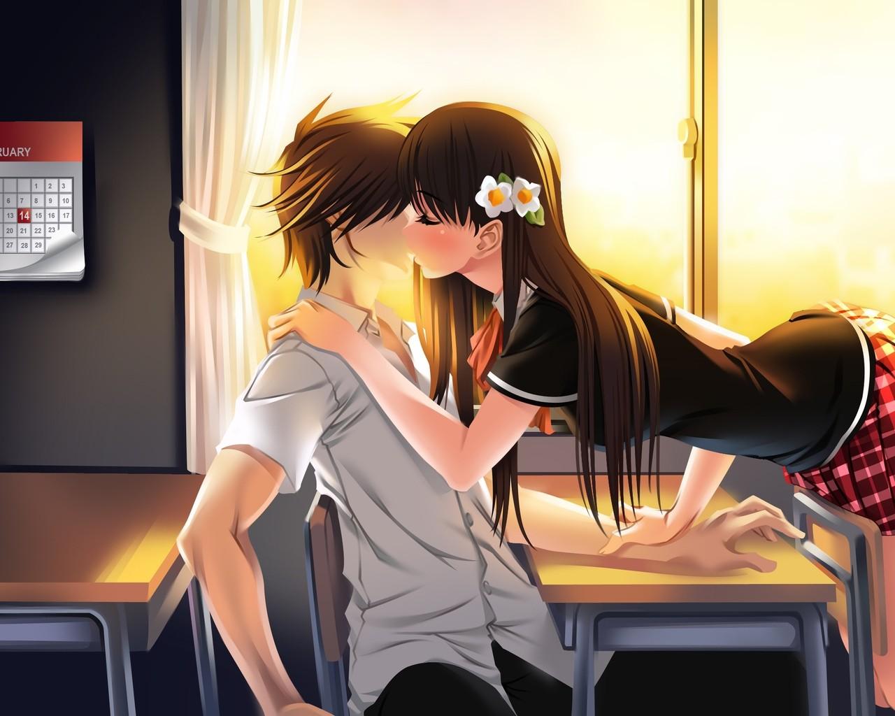 Illustration Anime Cartoon Black Hair School Kissing Mangaka Interaction