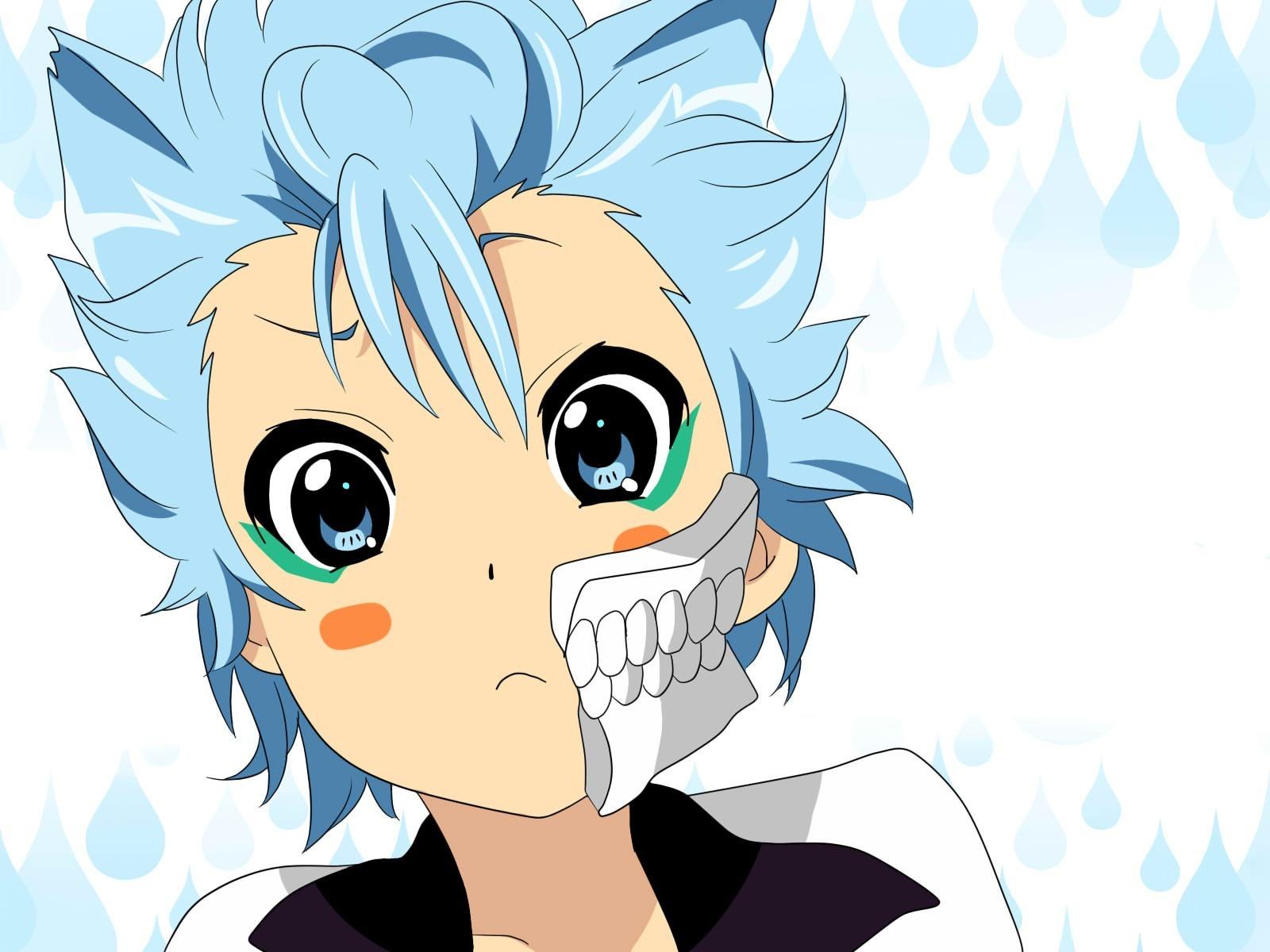 Illustration anime blue hair anime boys chibi line art cartoon bleach 1600x1200 px mangaka