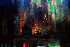 ciudad paisaje urbano noche reflexin horizonte rascacielos noche transistor metrpoli medianoche juegos ligero color centro