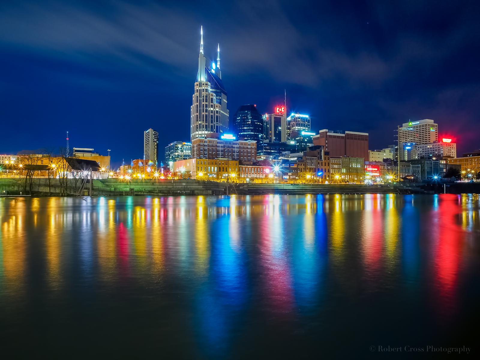 Wallpaper City Cityscape Night Water Reflection Sky