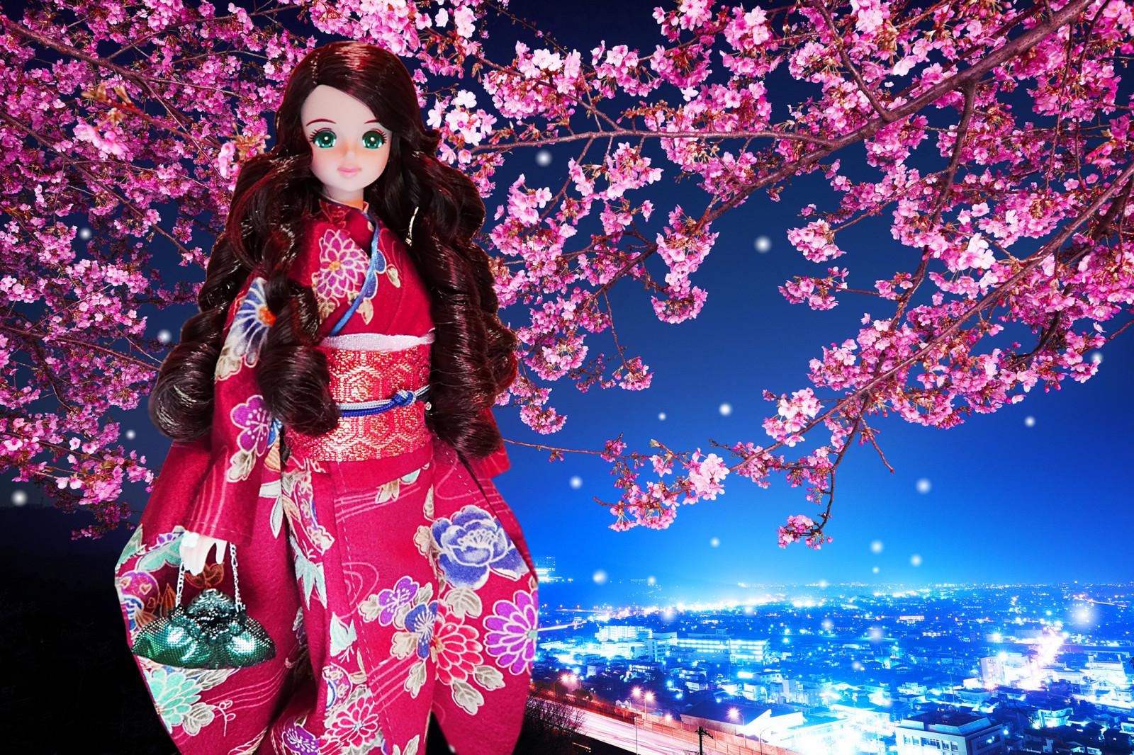 f4b52bd1d Fondos de pantalla : Japón, noche, púrpura, castillo, flor de cerezo ...