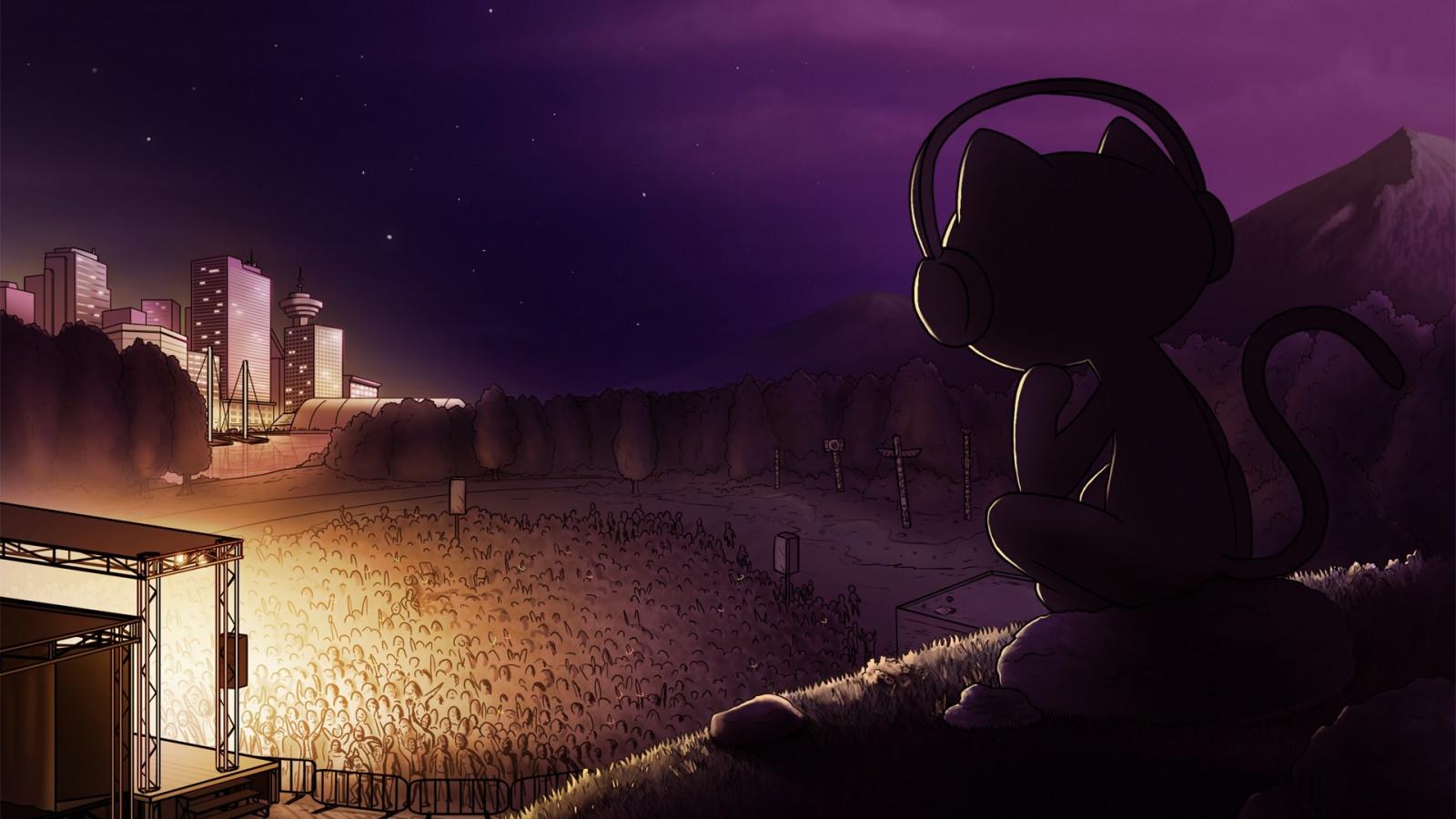 Wallpaper : night, headphones, EDM, Monstercat, midnight