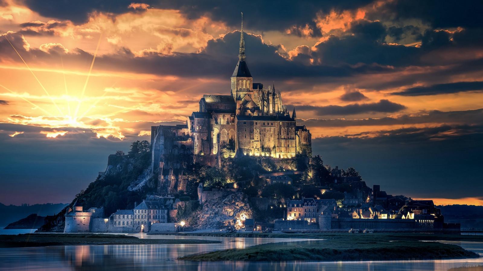 都市森林_デスクトップ壁紙 : フランス, モンサンミッシェル, 島, 城, 空 ...