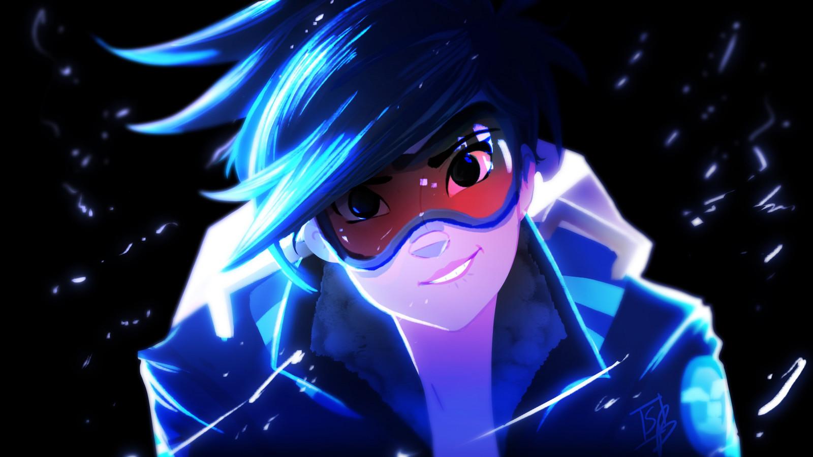 Wallpaper : anime, blue, Tracer Overwatch, Blizzard ...
