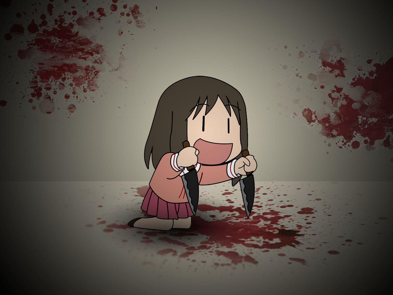 drawing illustration anime anime girls love red blood pink emotion knife Azumanga Daioh Kasuga Ayumu ART