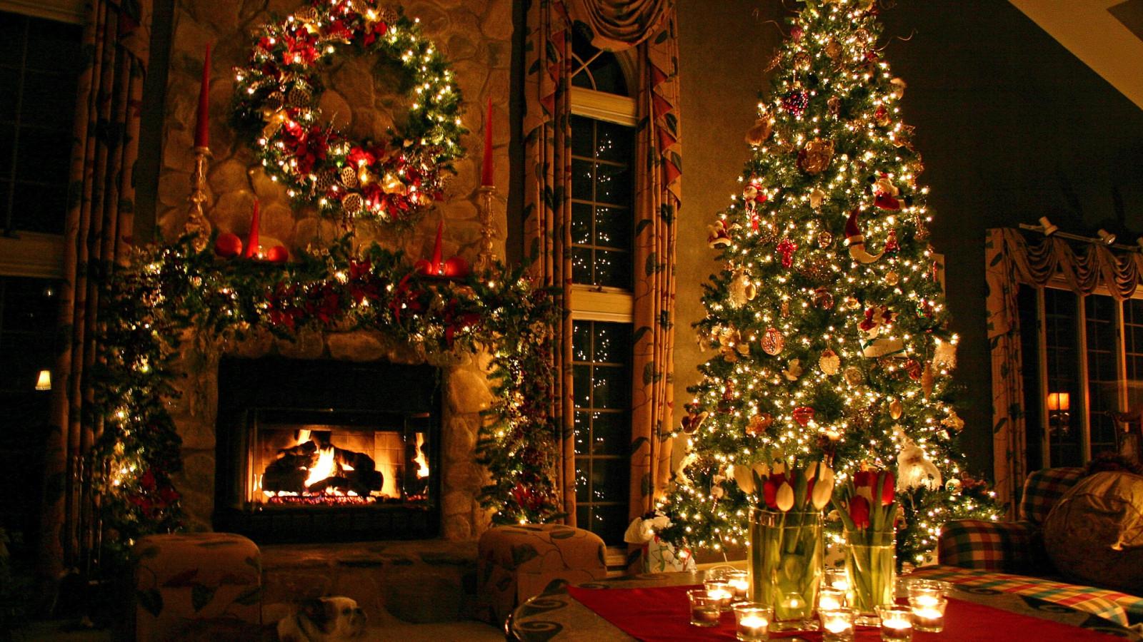 Fond d 39 cran maison arbre de no l vacances nouvel an for Decoration maison nouvel an